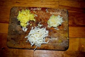 Ingefær, hvidløg, peberrod
